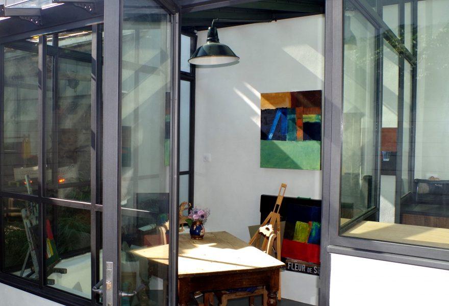 Véranda en acier atelier d'artiste